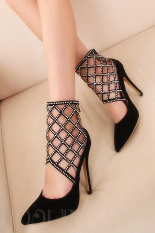 shoes rhinestones embellished hollow out women stilettos heels pumps black stilettos party shoes