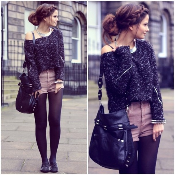 shorts sweater bag leggings tights black pretty pullover shoes jewels High waisted shorts flats t-shirt shirt jacket short violet pull tenue hiver collant noir