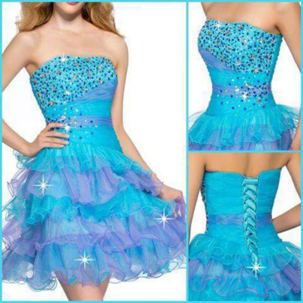 dress glamour blue dress pretty short dress