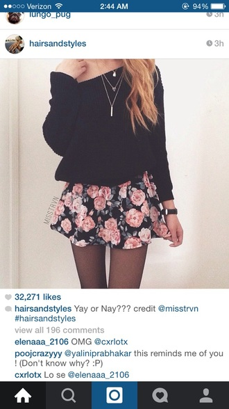 skirt sweater cardigan instagram tumblr outfit teen girl cute fall spring floral skater skater skirt necklace pretty beautiful floral skater skirt elegant tights comfy tumblr girl mini skirt grey black white pink white girl long hair like chic fashion skinny thin floral skirt pretty girl cute sweaters