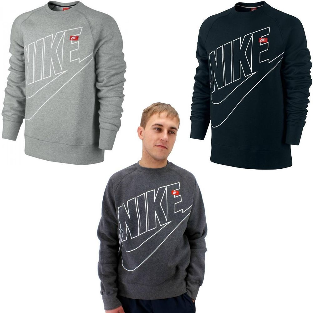 nike aw77 ace fleece crew logo herren pullover sweatshirt. Black Bedroom Furniture Sets. Home Design Ideas