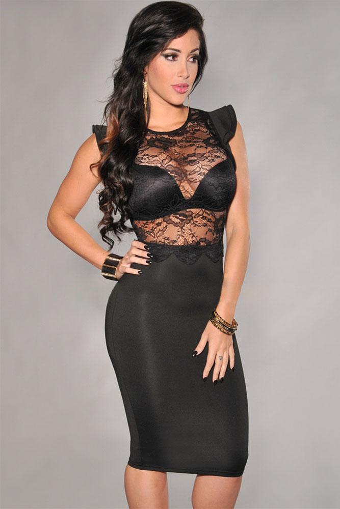 Black Sheer Lace Evening Dress, Hot Sale Evening Dress