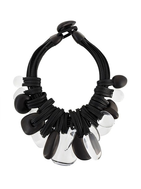 Monies chunky necklace wood women necklace leather black jewels