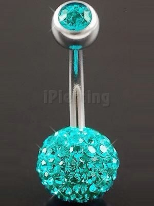 shop quality and quantity assured latest Belly steel bar navel ring button swarovski body piercing ...