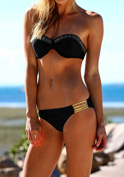 Something is. beach bikini black girl gold woman