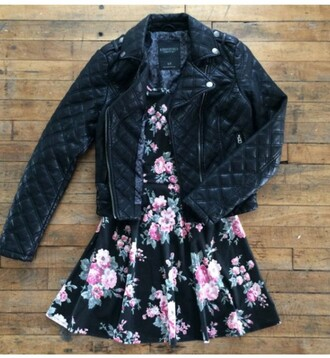 jacket leather leather jacket black black jacket dress skater skater dress floral fashion floral dress ootd outfit cute dress