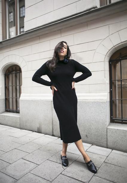 Theedit Blogger Dress Tumblr Midi Dress Midi Knit Dress Black