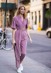 jumpsuit,martha hunt,model off-duty,pants,stripes,top,streetstyle