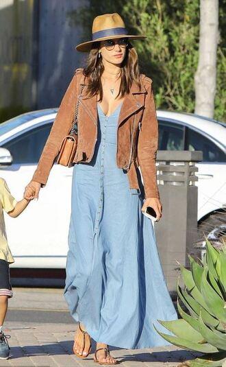 dress maxi dress sandals jacket alessandra ambrosio model off-duty streetstyle hat