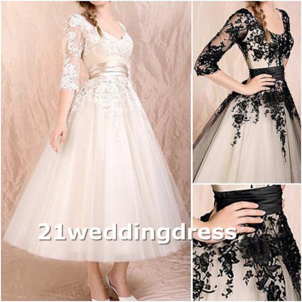 dress, bridal wedding gown, lace wedding dress, tea length wedding ...
