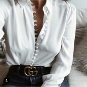 blouse,white,top,white blouse,jewels,jewelry,dainty jewelry,gold choker,necklace,choker necklace,gold necklace,button up,chic,event,girl,white top,classy,girly,beaded,black,shirt,button up blouse,button up shirt,collar,collared shirts,boutons,white shirt,button up skirt,top blouse white buttons  long sleeve,buttons,button down shirt,silk,off the shoulder,love,jeans,hot,sexy,nice