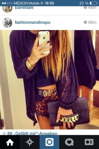 shorts leopard print belt bag sweater short