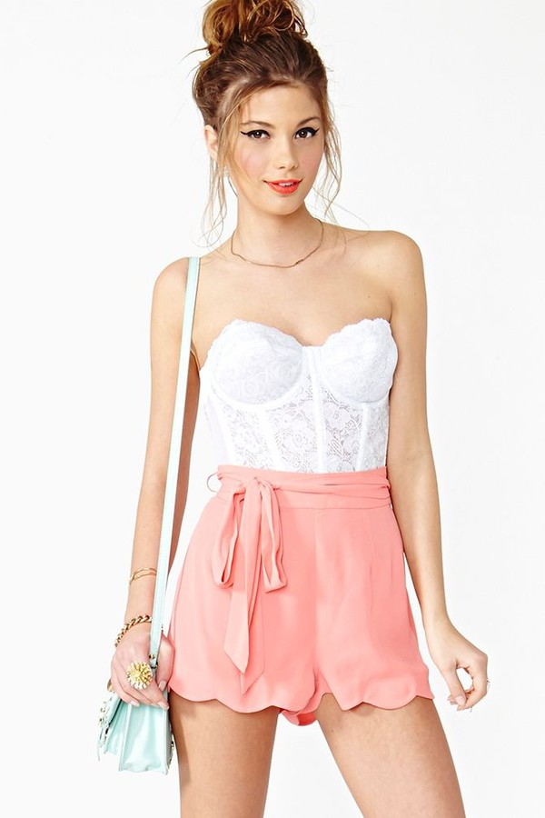 pink cute bows scalloped shorts girly classy fashion