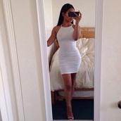 dress,white bodycon,white dress,bodycon dress,bodycon,white,mini dress,tight,tight-fitting dress,clubwear,club dress,see through dress,see through