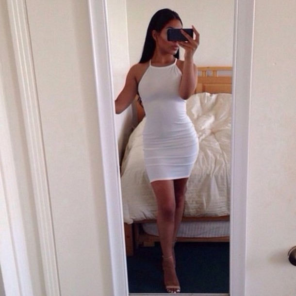 Tight fitted black and white club dresses
