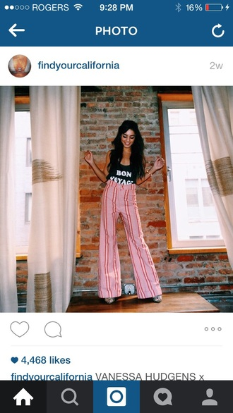 pants pink red lare pants