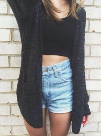 cardigan crop tops black top tumblr outfit top