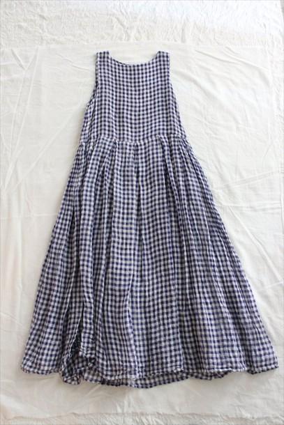 dress checkered navy white summer summer dress