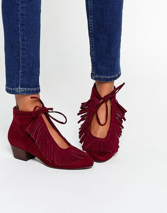 shoes fringes want need ankle boots burgundy shoes mid heel boots asos