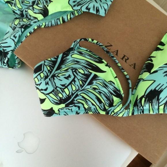 zara swimwear bikini green