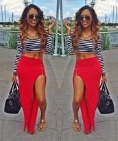 skirt,stripes,top,crop,summer,maxi,red,slit