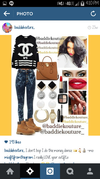 outfit baddiekouture_ chanel swimwear bag jewels shoes printed sweater timberland earrings eye makeup lips nails ootd