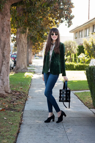 jeans and a teacup blogger jacket blouse jeans bag shoes sunglasses fall outfits blazer green jacket handbag
