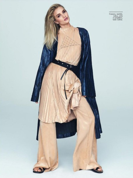 pants rosie huntington-whiteley dress editorial pleated