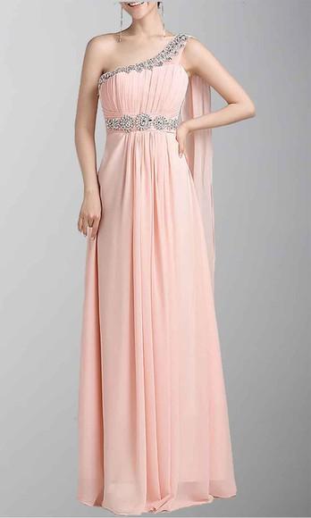 evening dress long prom dresses pink dress long formal dress one shoulder dresses lace neckline goddess dress sequin prom dresses empire waist dress