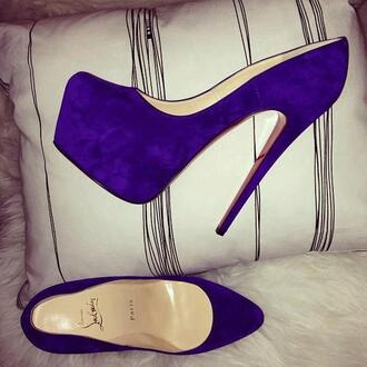 shoes purple platform pumps heels suede