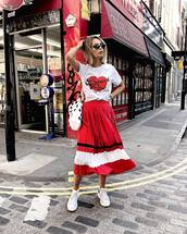 skirt,midi skirt,red skirt,top,sunglasses,shoes