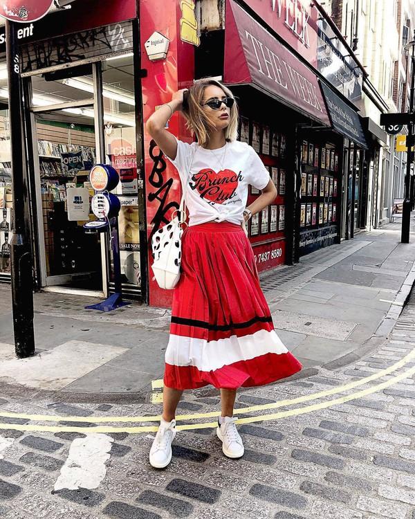 skirt midi skirt red skirt top sunglasses shoes