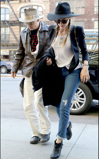 coat black jacket blazzer black blazzer amber heard johnny depp shoes jeans jewels jewelry necklace