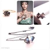 jewels,diamonds,black diamond ring,studs,gold jewelry,etsy,fashion,rihanna,necklace