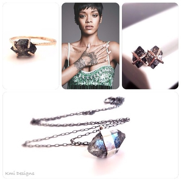 jewels diamonds black diamond ring studs gold jewelry etsy fashion rihanna necklace