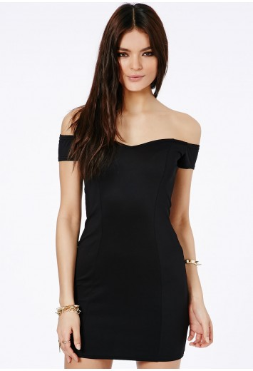 Missguided - Shirley Bardot Bodycon Mini Dress In Black