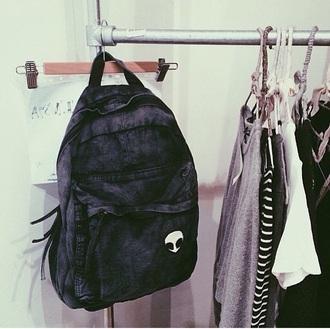bag grey alien patch backpack alien black backpack