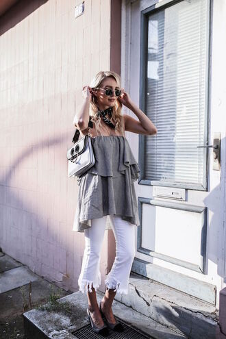 le fashion image blogger dress bag jeans strapless grey top white jeans flare jeans high heel pumps off the shoulder grey round sunglasses white pants skinny jeans frayed denim heels