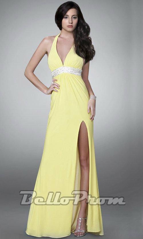 Halter Neck Beaded Prom Dress A4511 - belloprom.com