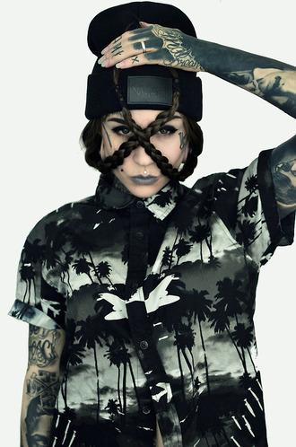 shirt button up black palm tree print clouds tumblr tumblr clothes