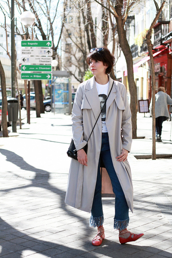 che cosa blogger jeans coat sunglasses bag