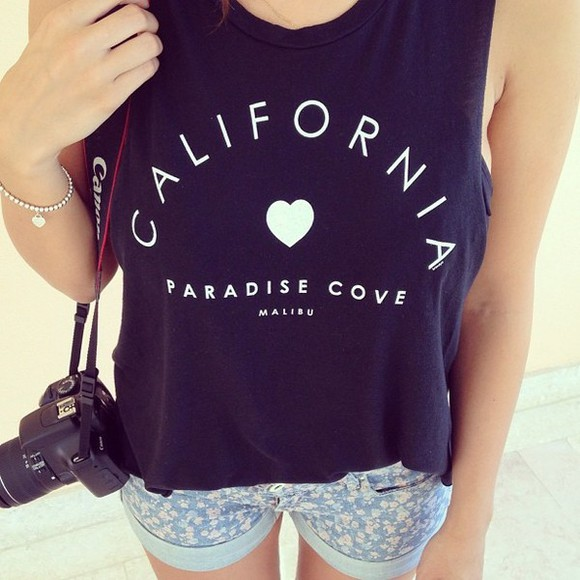 cute t-shirt california black west side hearts paradise shorts floral shorts floral denim denim shorts outfit shirt blouse tank top blue and white heart
