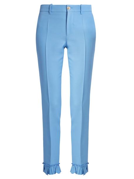 gucci ruffle silk wool blue pants