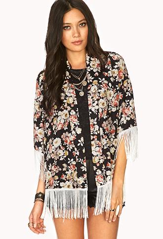 Boho Floral Fringe Kimono | FOREVER21 - 2031558073