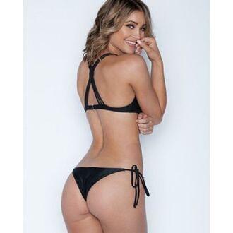 swimwear bikini top black criss cross back criss cross
