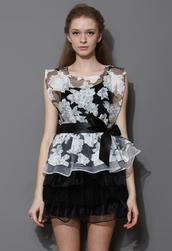 dress,floral,print,organza,tiered,twinset