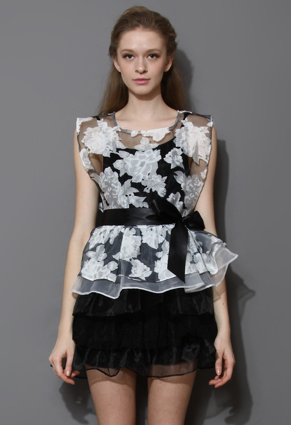 dress floral print organza tiered twinset