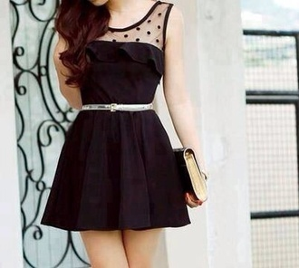 dress short sher polka polka dots belt little black dress