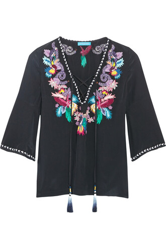 top embroidered embellished silk black