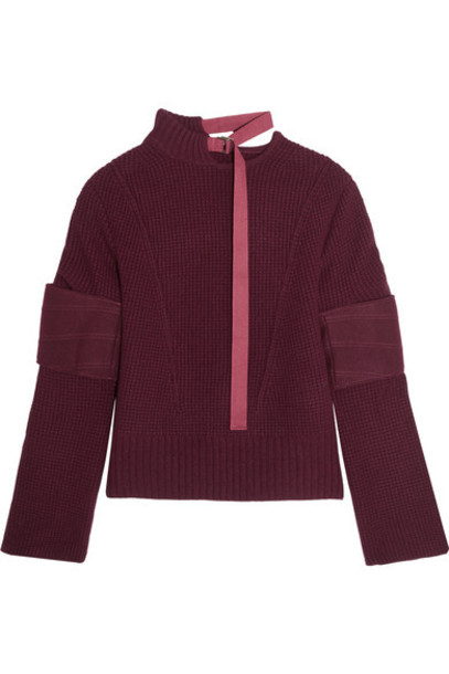 Sacai - Felt-paneled Wool Sweater - Burgundy